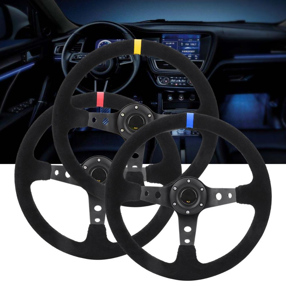 Car Napped Leather Aluminum Racing Steering Wheel with Horn Car Styling Universal 35cm 14inch 6 Bolts