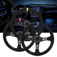 Car Napped Leather + Aluminum Racing Steering Wheel with Horn Car Styling Universal 35cm/14inch 6 Bolts