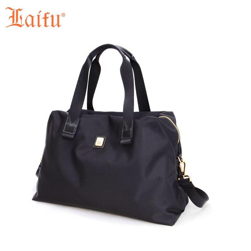 Laifu 2017 Women Large Travel Bag Lightweight Nylon Weekend Bag Simple Europe America Style Black Purple