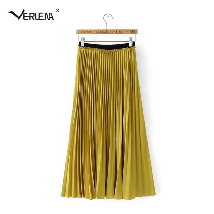 af15e51f7 Verlena Plisse Slip Pleated Skirt Mustard Yellow High Waist Bohemian  Chiffon Skirts Elastic Waist Mid-Calf Skirts Womens in Stock