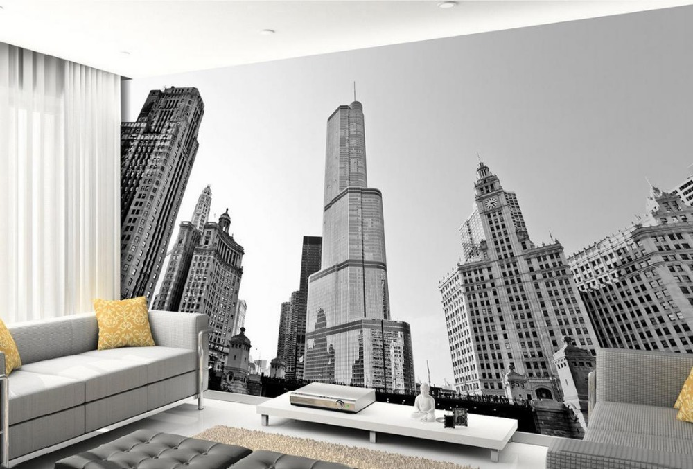 Us 11 4 62 Off Black And White Building New York Room Wallpaper Landscape Mural Home Decoration In Wallpapers From Improvement