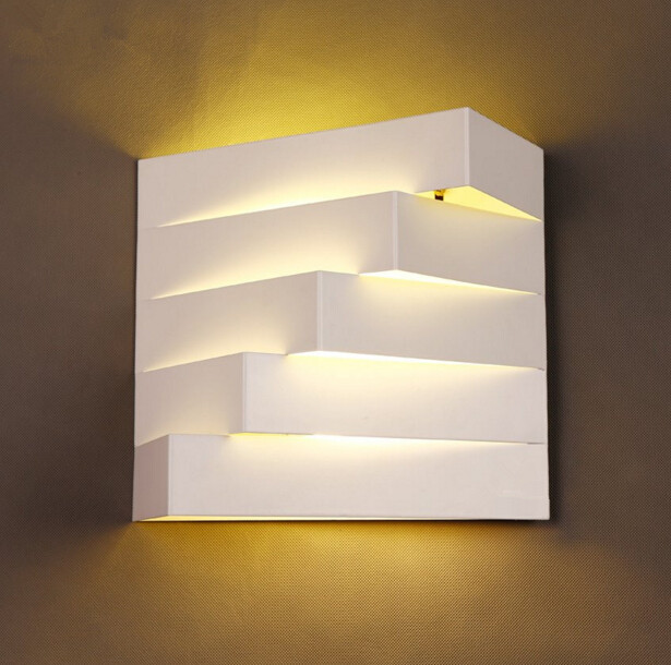 Modern Simple Creative Personality Living Room Bedroom Bedside Iron Wall Lamp Corridor Balcony LED Light Free Shipping creative bedside wall lamp modern minimalist rectangular corridor balcony living room bedroom background lighting fixture