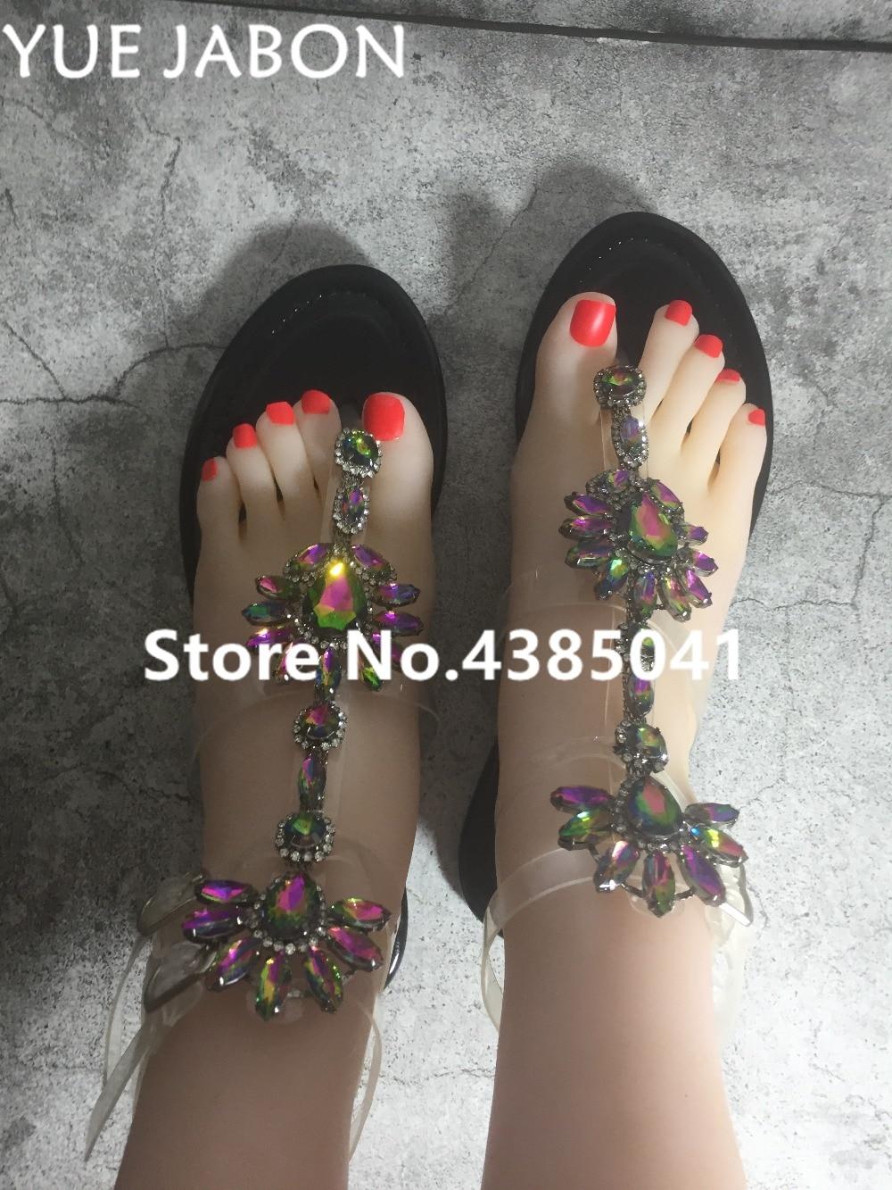 2019 Woman Sandals Women Shoes Rhinestones Gladiator Flat Sandals Crystal Chaussure Plus Size 43 tenis feminino Green Flip Flops