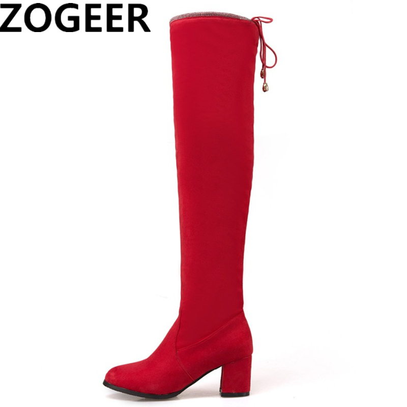 ca3a5d523fc46 Plus size 48 Stretch Fabric Women Thigh High Boots Casual Over the Knee  Boots Sexy Thick