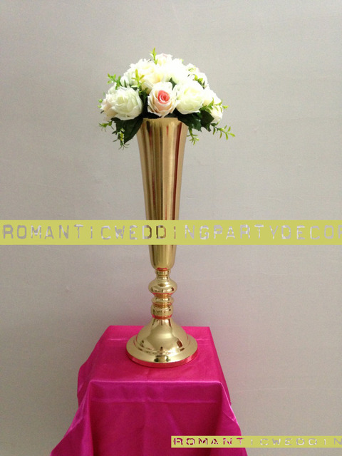 Height 50cm 19 6 Gold Wedding Table Flower Vases Decoration 10pcs Lot