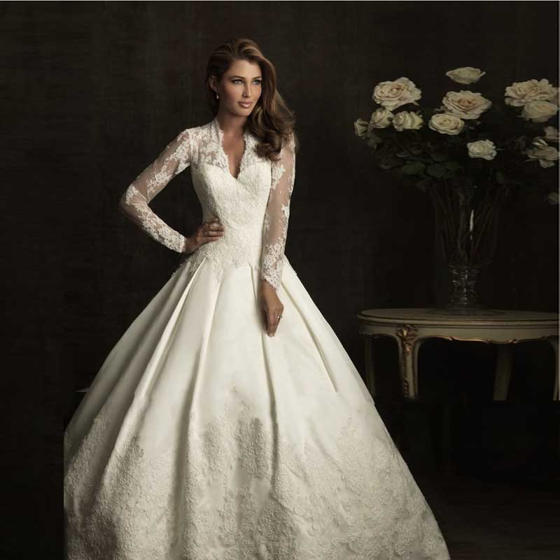 Royal ball gowns celebrity dress satin lace long sleeve kate royal ball gowns celebrity dress satin lace long sleeve kate middleton wedding dress free shipping in wedding dresses from weddings events on junglespirit Gallery