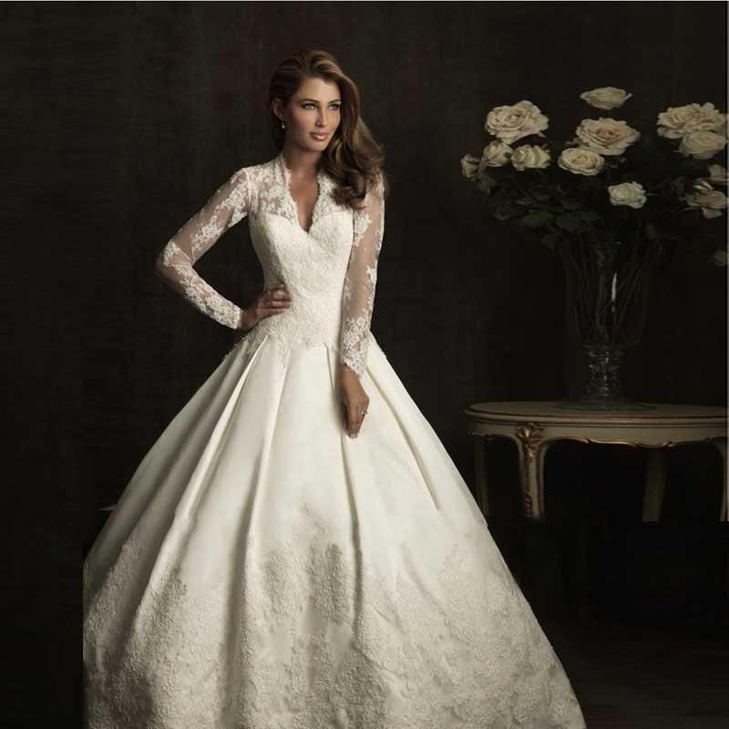 2017 royal robes de bal robe de clbrit satin dentelle manches longues kate middleton robe - Aliexpress Mariage