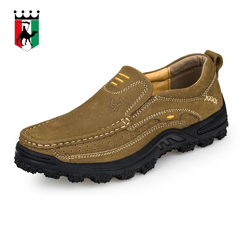 BACKCAMEL Men Genuine Leather Ouutdoor Men Shoes Handmade Summer Autumn Non-slip Platform Rubber High Quality Men Flats Shoes