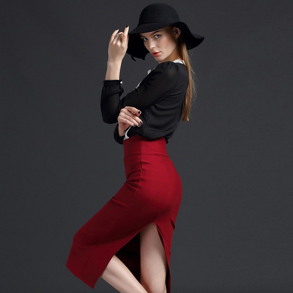 e42a9050c Fasicat Great Elasticity Pencil Skirt Thicken Fabric Tailored Bodyshaper  Buttocks Tight Knitting Straight Winter Skirt 351
