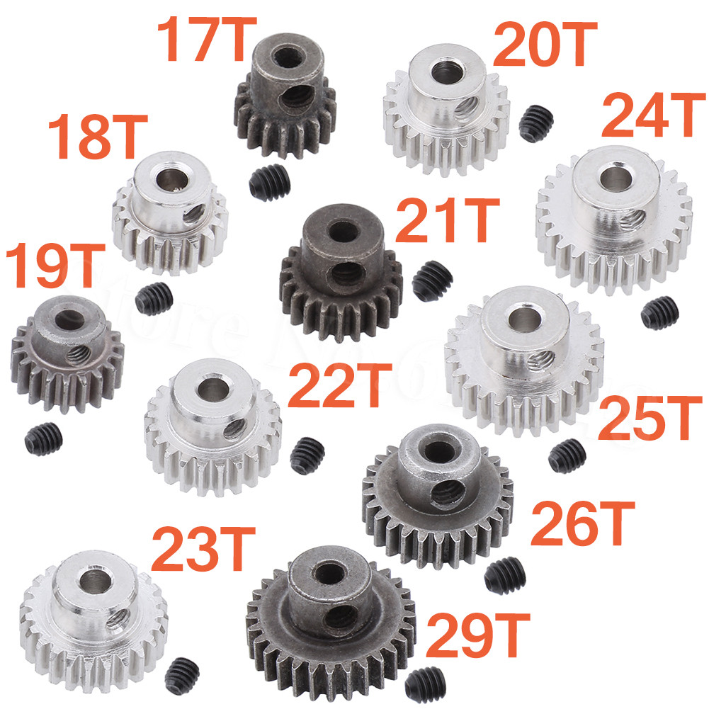 3.175mm Hole 17/18/19/20/21/22/23/24/25/26/29T Motor Gears Pinion 0.6 Module For RC Cars Spare Accesories HSP Redcat Exceed
