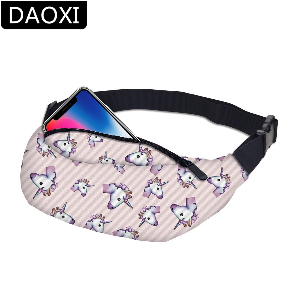 DAOXI Unicorn Adjustable Belt Waist Pack Bag Quick Release Buckle Pouch Water Resistant For Women DXYB-13