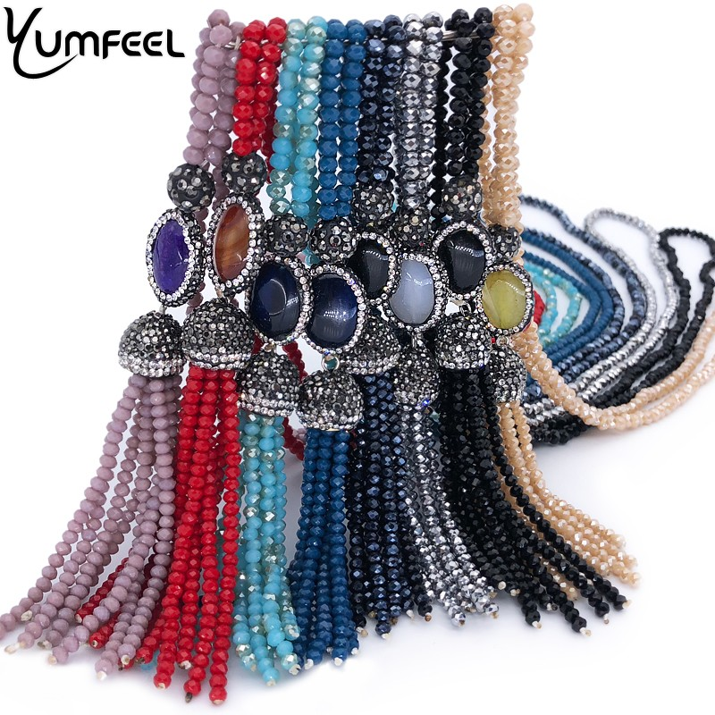 Yumfeel Brand New Crystal Paved Natural Stone Tassel Pendants Necklaces Women 9 Colors Choice Long Necklace Jewelry Fashion Gift luna chiao fashion ins popular round natural stone fan fringed cotton tassel necklaces pendants for women