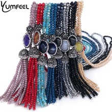 Yumfeel Brand New Crystal Paved Natural Stone Tassel Pendants Necklaces Women 9 Colors Choice Long Necklace Jewelry Fashion Gift