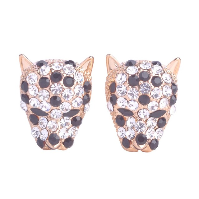 Y Crystal Leopard Stud Earrings For Women S Beautiful Ear Accessories French Hooks Max Brincos Animal