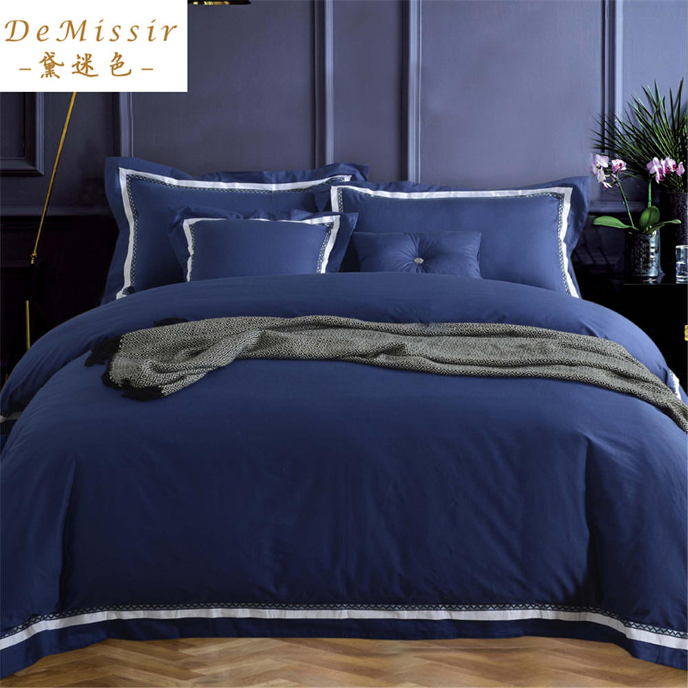 Online buy wholesale navy blue bedspread from china navy for Housse de couette bleue