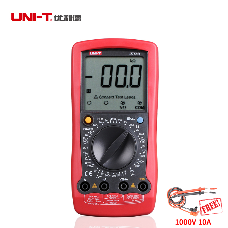 UNI-T UT58D 1000V 20A Auto Range Digital Multimeter AC/DC Voltage Current,Resistance,Capacitance,Inductance Tester new style victor digital multimeter 20a 1000v resistance capacitance inductance temp vc9805a