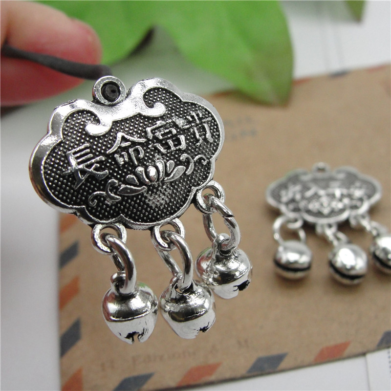 30pcs/lot 4.5g Tibetan Silver Lucky Lock Home & Garden Bell Manual Diy Jewelry Charms For Crafts Making Antique Accessories Numerous In Variety