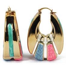 Роскошные золотые серьги-кольца для женщин, розовые, голубые, эмалированные глазурные серьги в форме капли, модные ювелирные изделия для невесты EA032