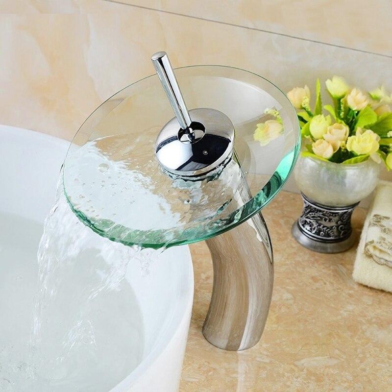 Bathroom waterfall Faucet Chrome High Glass Mixer Tap Finish Basin Sink Faucet Mixer Tap Waterfall Faucet