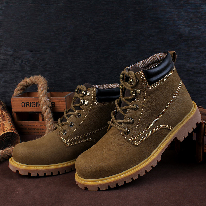 Botas de trabajo para hombre al aire libre de tamaño pequeño NINYOO botas de invierno de cuero genuino a prueba de agua a prueba de desgaste botas del ejército hombres Plus Size36 48 - 3