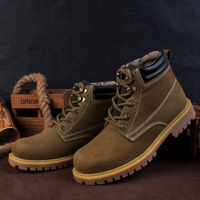 NINYOO Kleine Size Outdoor mannen Werken Laarzen Lederen Winter Laarzen Waterdicht Slijtvast Enkel Leger Laarzen Mannen Plus Size36 48 - 3