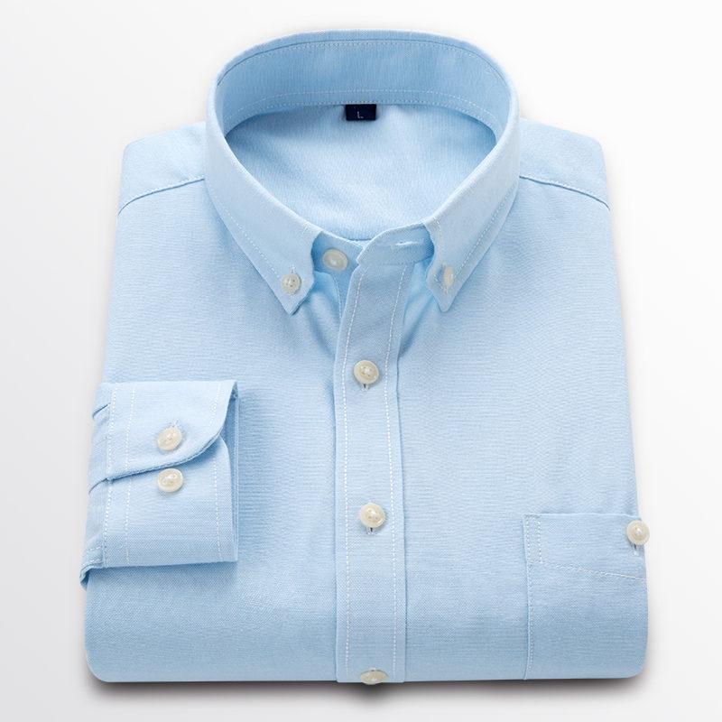 Novo TECIDO OXFORD 100% ALGODÃO excelente confortável slim fit botão gola homens de negócios camisas casual tops LC001
