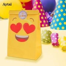 "Aytai 12pcs שקיות נייר צהוב Emoji קנדי תיק עבור מסיבת יום הולדת לילדים DIY קישוטים חמוד שקיות נייר עבור שקית מתנות 22 * 12 * 8 ס""מ"