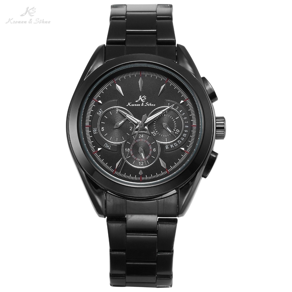 KS Luxury Brand Full Black Date Day 24 Hours Steel Band Male Business Clock Men Automatic Self Wind Mechanical Watch Gift /KS224 ks black skeleton gun tone roman hollow mechanical pocket watch men vintage hand wind clock fobs watches long chain gift ksp069