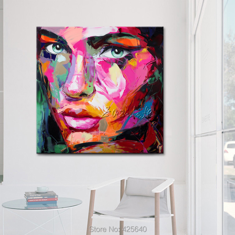 Francoise Nielly canvas Painting Palette knife Face oil painting wall art pictures for living room home decor caudros decoracion - 4