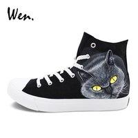 Wen Kat Ontwerp Handgeschilderde Schoenen Hoge Top Lace Up Flat Sport Sneakers Mens Womens Huisdier Schilderen Skateboarden Schoenen