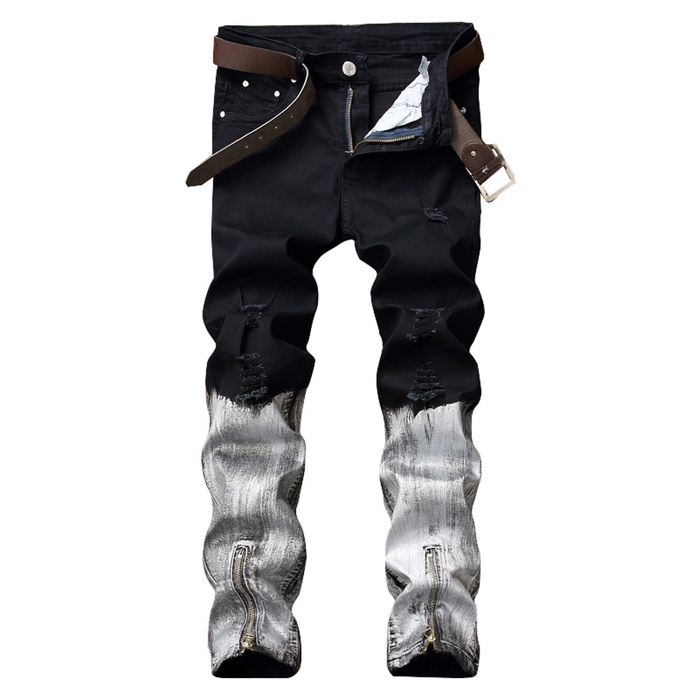 2018 New Fashion Brand Men Printed Jeans Men Slim Fit Straight Stretch Pants Elastic Printing Jeans Hombre Patchwork Trousers