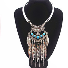 Fashion Bohemian Vintage Gypsy Colar Collier Maxi Ethnic Necklaces & Pendants Beads Leaf Tassel Choker Necklace X-742