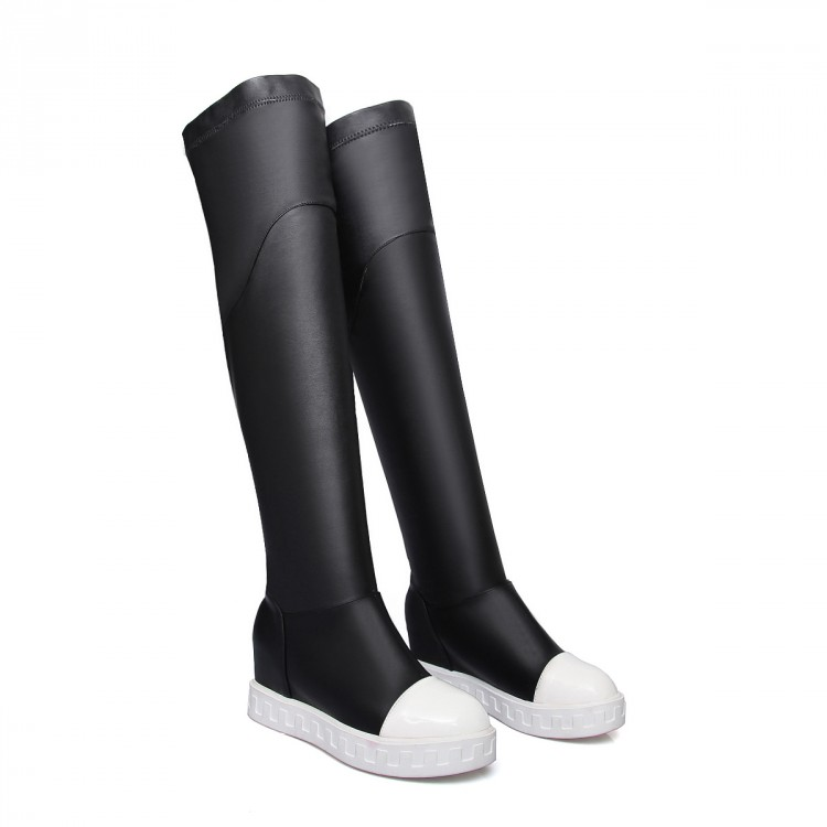 Big size Brand Design Patch Color Over the Knee Boots Thick Sole Platform Slim Long Boots Casual Women Boots School Style 9022