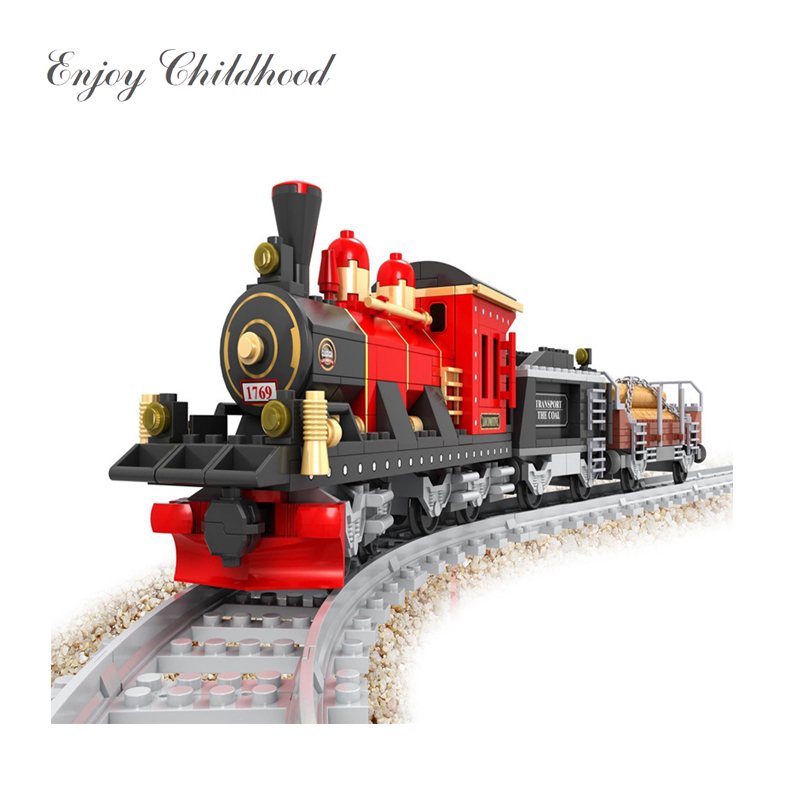 Train Set Building Blocks Early Educational DIY Brick Toys For Children Compatible with Legoings juguetes