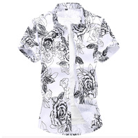 Fashion casual White & Blue Mens Shirts Short Sleeve Summer Men Flower Shirt Asian Size S 7XL shirt men