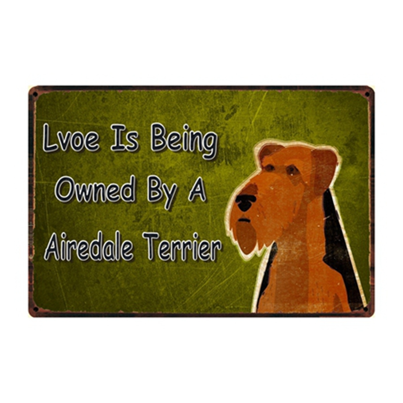 Airedale Terrier Black Metal Welcome Sign *NEW*