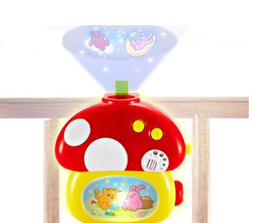 Free shipping   best quality  baby  toys mushroom projection  rattle bed bell  with 8 music education toys for kids