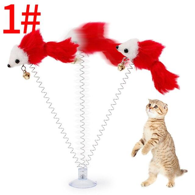 2018 NUOVO Multicolore Peluche Scratch Ventosa Fondo Pet Cat Toys Piuma False Mo
