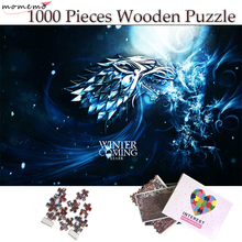 MOMEMO STARK Family Badge Wooden Puzzle 1000 Pieces Game of Thrones Winter Is Coming Jigsaw Puzzles for Adult