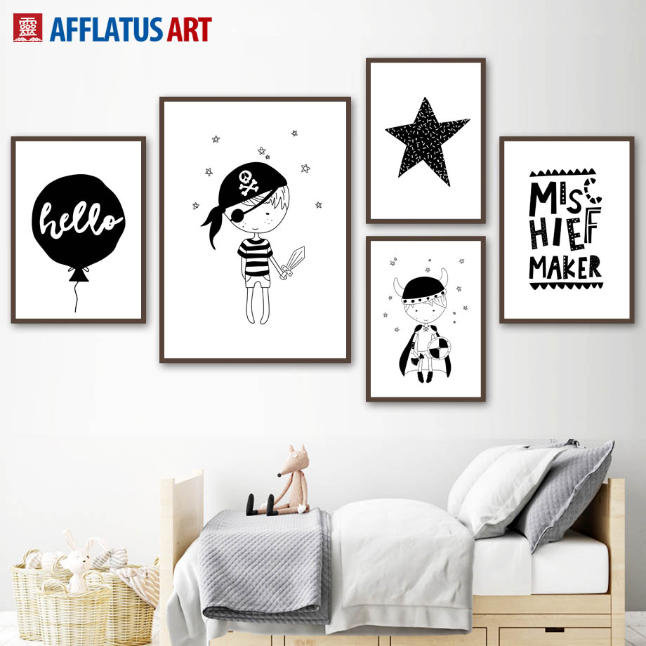 afflatus nordic poster black white prince pirates wall art posters and prints canvas painting wall pictures kids room home decor in painting calligraphy
