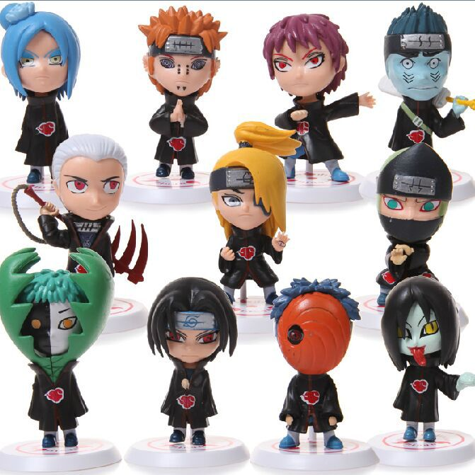 Naruto Akatsuki PVC Action Figures Collectable Model Toys Doll 6.5cm 11pcs/set Free Shipping el rey leon juguetes