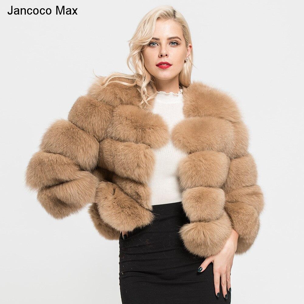 Jancoco Max 2018 delle Donne Cappotti Reale Naturale Pelliccia di Volpe 5 Righe Cappotto di Alta Qualità Outwear Inverno Caldo di Spessore di Modo crop Jacket S1796
