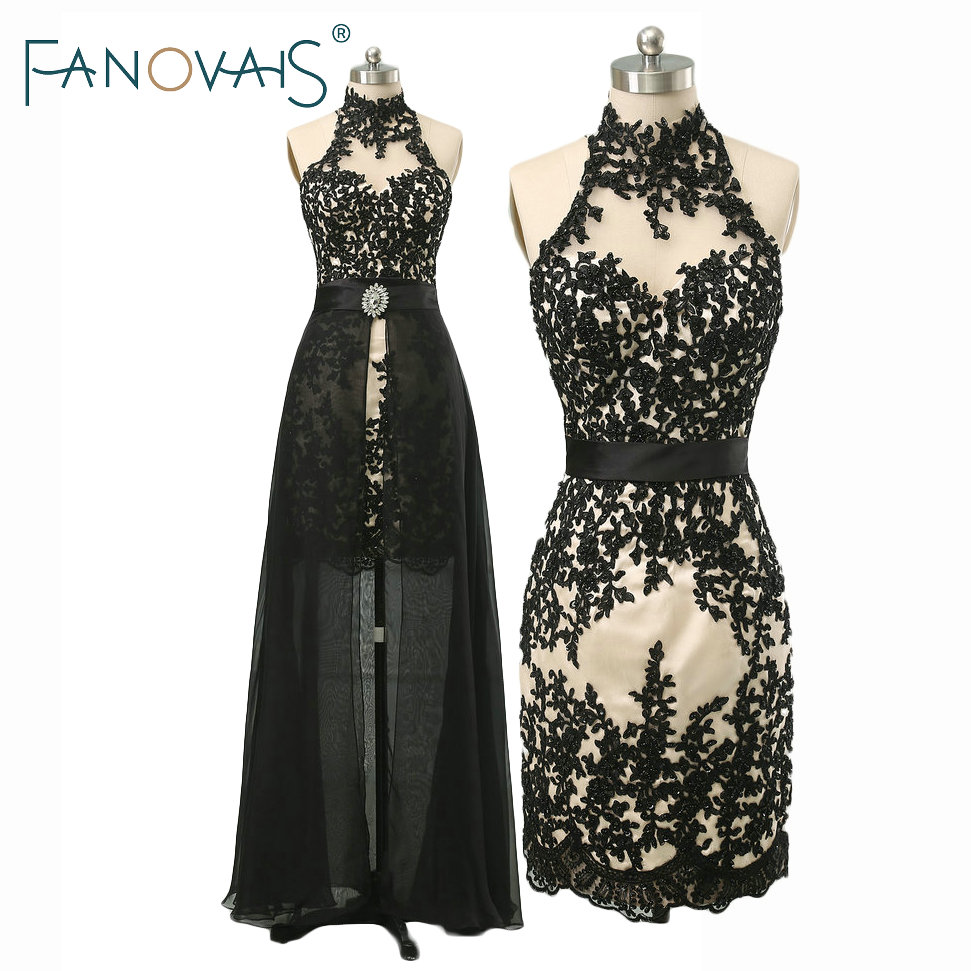 Prom Dress With Detachable Train: Halter Sexy Evening Dress With Detachable Train 2018 Lace