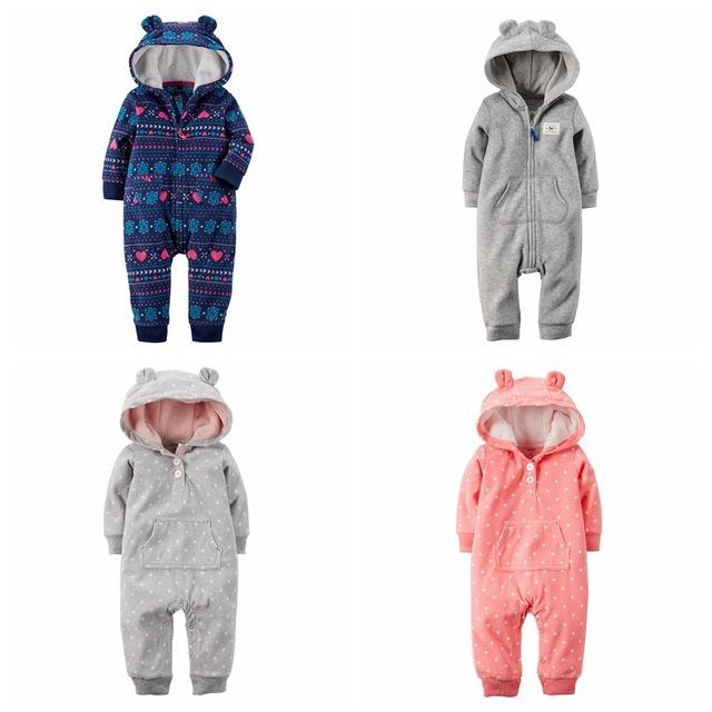 2017 inverno bebes roupa do velo do bebê macacão com capuz outwear fox urso roupas meninos da criança do bebê do bebê macacão de uma peça romper
