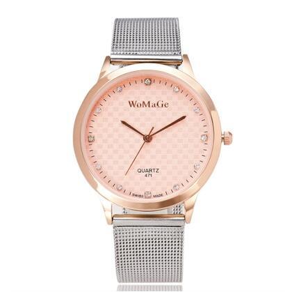 2018 New Rose Gold Relojes Mesh Steel Quartz WoMaGe Women Watches Top Brand Womage Luxury Ladies Men Unisex Wristwatches Hombre