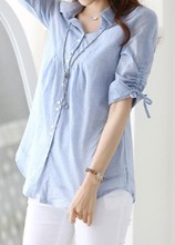 2017 Solid Light Blue Button Up Turn down Collar Curved Shirt Casual Loose Office Wear  Drawstring Sleeve Blouse notch collar frill cuff drawstring waist blouse