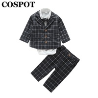 Cospot Baby Boys Clothing Set Newborn 4Pcs Set Suit+shirt+Pants +Tie Boys Outfit Coat Newborn Kids Clothes Sets Rush 25E