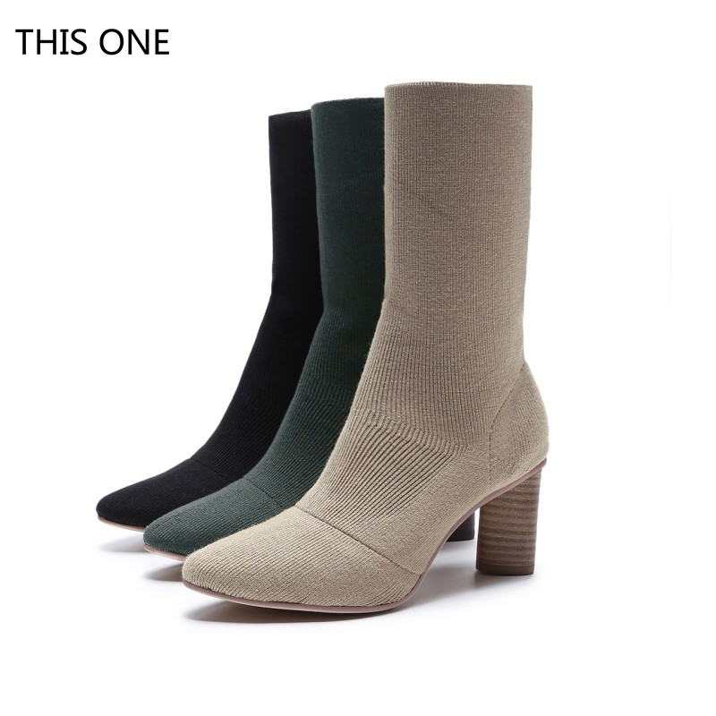 2018 Autumn New Womens Knitting Sock Slip-on Mid-Calf Boots Brand Designer Med Heel Pointed Toe Short Booties Plus Size Shoes