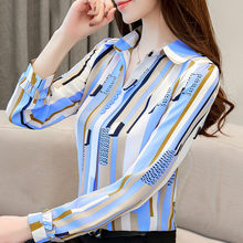Spring Garment 2019 New Small Loose Bottom Shirt & Blouses Feminine Chiffon Shirt Long Sleeve OL Tops & Blouses(China)