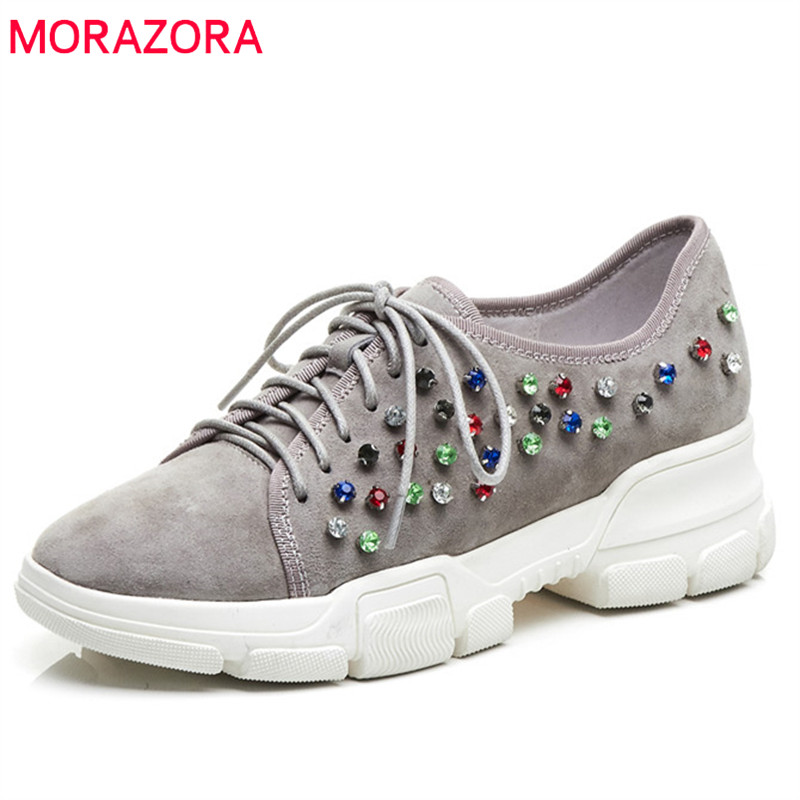 MORAZORA 2019 newest   suede     leather   sneakers female round toe spring summer shoes rivet lace up casual flat platform shoes woman